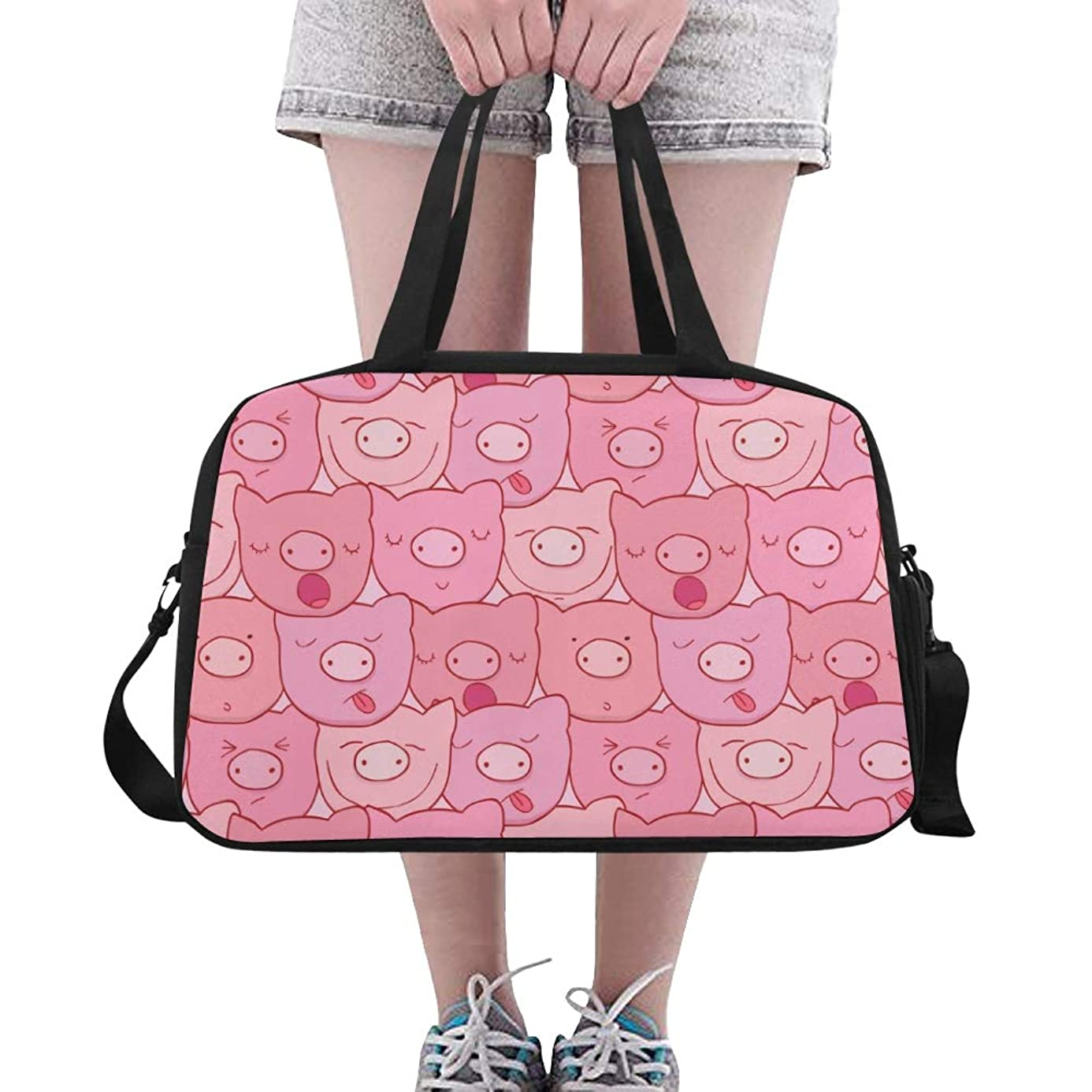 Pink Piggy Pig Head Large Yoga Gym Totes Fitness Handbags Travel Duffel Bags Shoulder Strap Shoe Pouch For Exercise Sport Luggage For Girl Men Womens Outdoor Picnic Dance