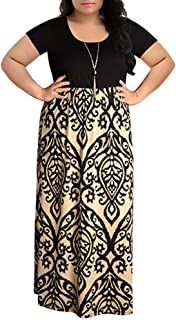 KYLEON Womens Plus Size Short Sleeve Empire Waist Maxi Dress Casual Loose Crew Neck Stripe Floral Boho Long Sundress