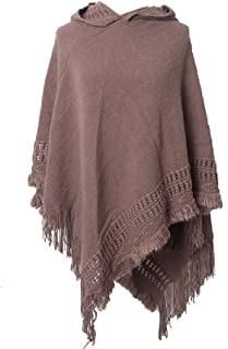 neveraway Womens Fall Winter Solid Color Knit Fringe Poncho Coat Wrap Scarves