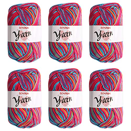BCMRUN Soft Yarns 6 50g 300g 3-ply Milk Baby Cotton Perfect for Any Knitting and Crochet Mini Project for Craft, Hats, Gloves (Color: Warm Candy)