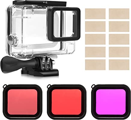 Kupton Housing Case Filter Kit for GoPro Hero 7 Hero 6 Hero 5 Black/Hero (2018), Waterproof Case Diving Protective Housing Shell + 3 Pack Filter + Anti-Fog Insert + Bracket Accessories