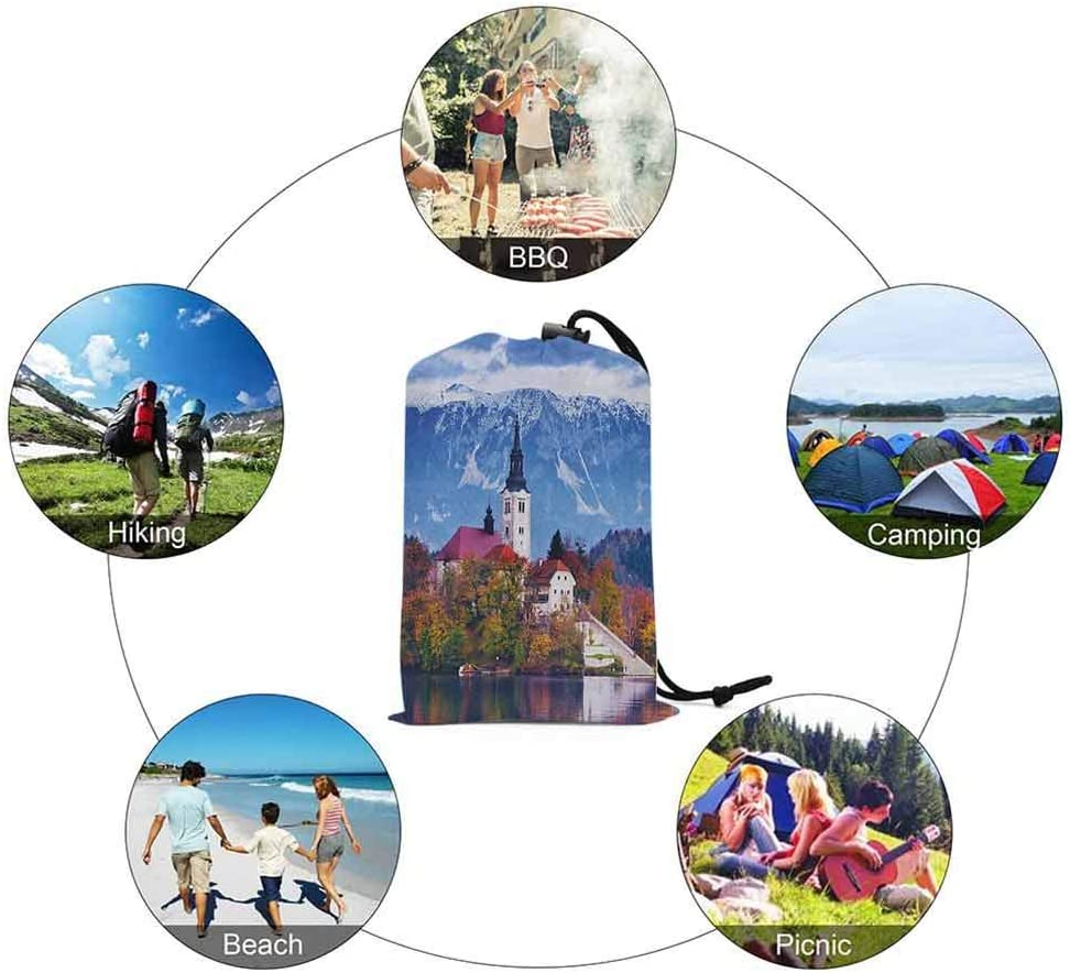 60 x 57 Nature Theme Flowers Circles and Leaves Flying Butterflies Sand Proof Mat for Travel Landscape Waterproof Picnic Blanket Slate Blue White Black