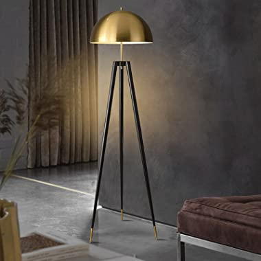 Floor Lamp Mid Century Modern, Tripod Floor Lamp for Living Room - Standing Light with Contemporary Drum Shade Matches Bedroo