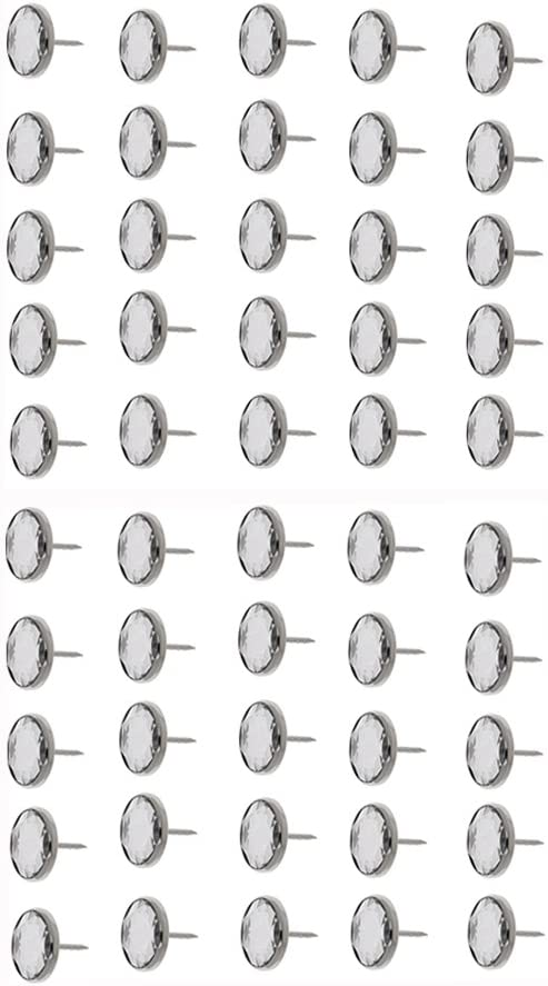 oshhni 50 Pieces Crystal Sofa Headboard Buttons Upholstery Decoration Silver 20mm