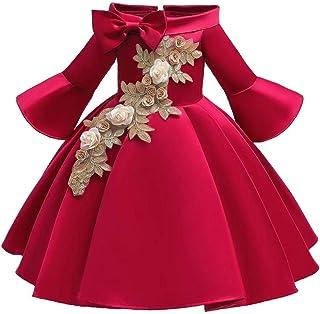 BestGift Girls Shoulderless Half Sleeve Gown Satin Elegent Lace Flower Girls Princess Formal Wedding Pageant Dresses