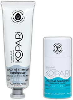 Kopari Coconut Charcoal Duo! 3.4 Oz Coconut Charcoal Toothpaste And 2 Oz Coconut Charcoal Deodorant! Teeth Whitener Tooth Paste And Non-Toxic Deodorant! Vegan, Cruelty-Free, Aluminum & Fluoride-Free!