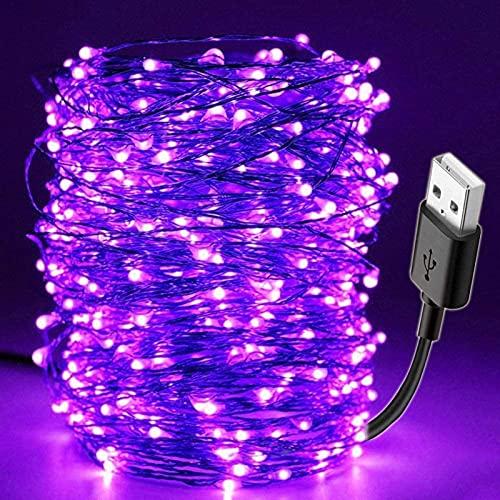 ZJDM Lámpara de Barra de Bricolaje, Fiesta de Navidad 10M 100LED Luz de Cadena UV USB a Prueba de Agua para Escenario Casa encantada LED String