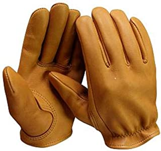 Churchill Classic Short Wrist Deerskin Motorcycle Gloves Made in America Tan (XXLarge)