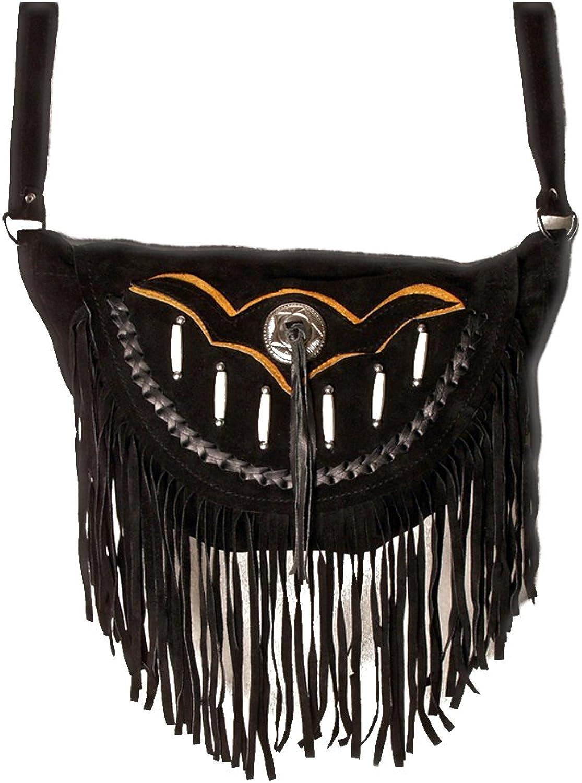 Wildleder – Tasche Bones Damen Umhängetasche mit Fransen und und und Knochenapplikaten schwarz B00WIFNCSM  Niedriger Preis 643d5a