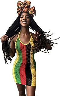 MONASAMA Women Halter Backless Fishnet Mesh Clubwear Cover up Rasta Jamaican Mini Dress
