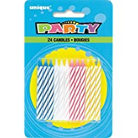 24-Pack Assorted Color Striped Birthday Candles