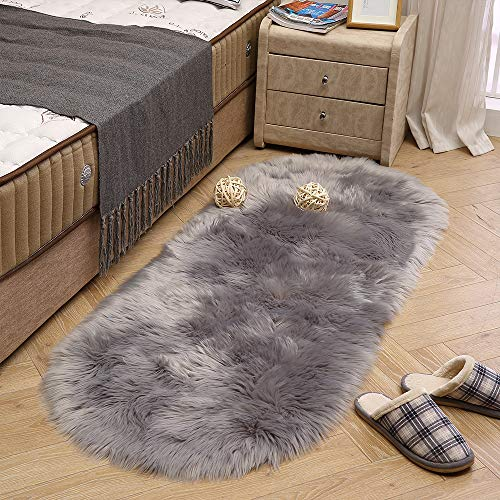 LEEVAN Super Soft Round Rug Faux Fur Wool Oval Carpet Fluffy Shaggy Kids Play Mat Girls Runner Area Rug for Sofa Floor or Living Room Bedroom Accent Home Decorate(Light Grey,2ft x 5.3ft)