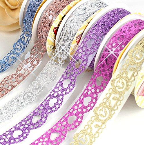 SDBING 3 Roll Washi Glitter Tape Masking DIY Scrapbooking Lace Tape Sticker