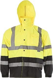 JORESTECH High Visibility Light Weight Waterproof Rain Jacket ANSI/ISEA 107-2015 Class 3 Level 2 Yellow/Black JK-03-YLBK (M)
