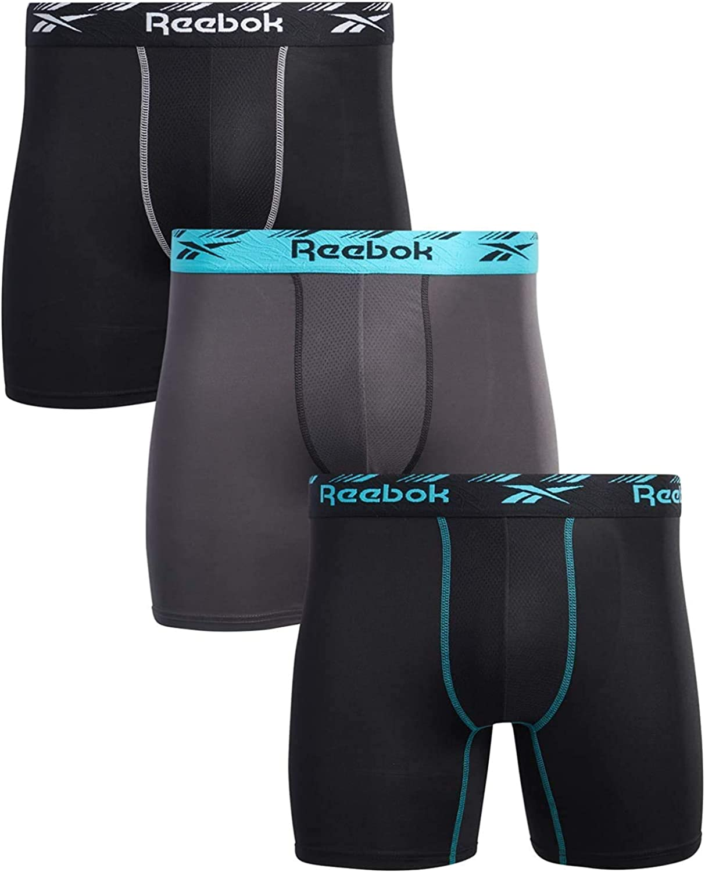 Reebok Men's Underwear - Performance Microfiber Boxer Briefs (3 Pack)