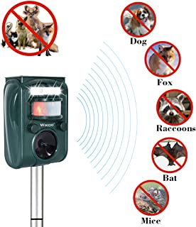 Wikoo Ultrasonic Animal&Pest Repeller,Solar Powered Outdoor Pest Repellent,Motion Activated with Solar Power and USB Charge,Very Effective for Cats,Dogs,Raccoons,Skunks, Squirrels and More