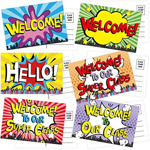 36 Colorful Welcome Postcards with 6 Designs Welcome Back to School Greeting Cards for Kids