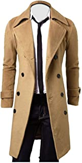 ZEFOTIM Winter Men Slim Stylish Trench Coat Double Breasted Long Jacket Parka