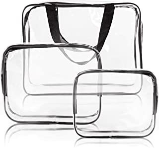 3Pcs Crystal Clear Cosmetic Bag TSA Air Travel Toiletry Bag Set with Zipper Vinyl PVC Make-up Pouch Handle Straps for Women Men, Roybens Waterproof Packing Organizer Storage Diaper Pencil Bags