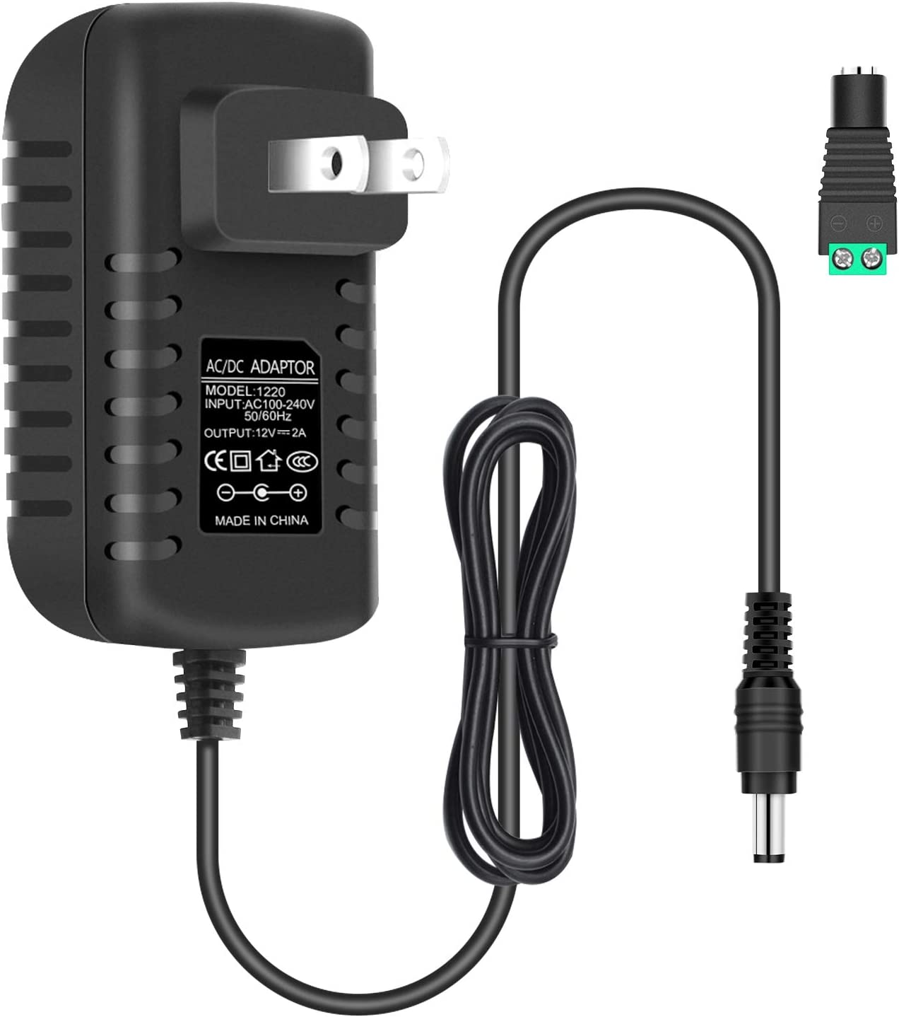 12V 2A 24W LED Strip Power Supply, Wall Mounted AC 100-240V to 12V DC Power Adapter, Switching Transformer with 5.5/2.1 DC Female Barrel Connector to Screw Adaptor for Low Voltage Devices