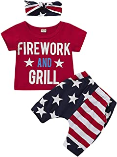 Newborn Toddler Baby Girls 4th of July Letter Print T-Shirt with American Flag Pants Headband 3Pcs Outfits Set