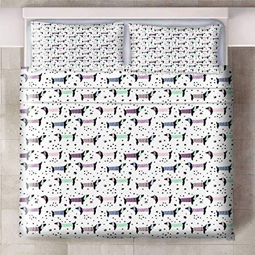 Ababilart Juego De Ropa De Cama Color Animal Cachorro 240X200 Cm 3 Piezas Microfibra Calidad Juego De Ropa De Cama De 200 X 220 Cm + 2 Fundas De Almohada Hotel Habitación Habitación Infantil