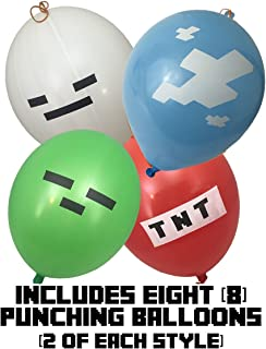 Punch Balloons - Pixel Style Kid's 16-inch (8-Pack), Includes Zombie, Skeleton, TNT, and Pixel Clouds - Birthday Party Activities That Add Punch to Your Miner Themed Party Or Birthday Party Favors