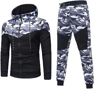 Pingtr Mens Camouflage Gym Full Tracksuit Jogging Bottoms Hoodie Top Set Joggers Tracksuit Bottoms M-XXXL