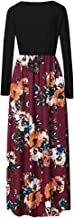Haomigol Women Maxi Dress O Neck Long Sleeve Floral Print Long Maxi Dress Casual Plus Size Tunic Dress