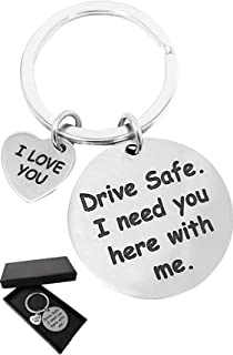 WazirianUAE Drive Safe I Need You Here With Me Keychain - Car Key Chain - Boyfriend Girlfriend Husband - Keychain for Men ...