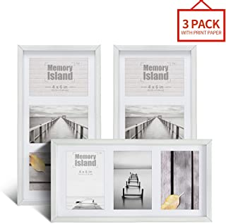 Memory Island, 7x14 Collage Picture Frame, Display 3 4x6 Photos, 3 Openings in Silver. Set of 3 Pack for Wall Decor.