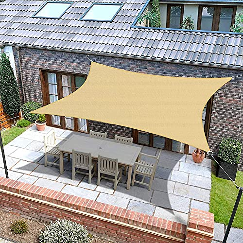 BAIYAN Toldo Vela De Sombra Triangular Impermeable A Prueba De Viento Protección UV para Patio, Exteriores, Jardín, Color Arena3X4X5-right Triangle