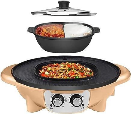 YECHUI Barbacoa Hot Pot Integrado Multifunción Freír Cocinar Hogar Coreano Sin Humo Antiadherente Eléctrico Hot Pot Separable, Adecuado para 2-12 Personas