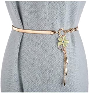 ZYDP Gold Belts for Women Dress Skinny Luxury Elastic Waist Metal Chain Stretch (Color : Green)