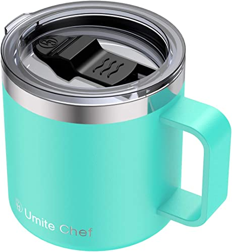 discount Stainless high quality Steel Insulated Coffee Mug Tumbler outlet online sale with Handle, Umite Chef 14oz Double Wall Vacuum Travel Tumbler Cup with Sliding Lid Travel Friendly, Mint Green outlet online sale