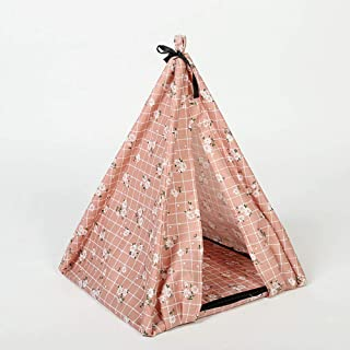 LEP Portable Pet Tents, DIY Assembled Pet Teepee with Comfortable Ventilation/Three Colors can Choose for Dog(Puppy) & Cat (343440cm)