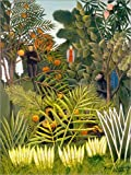 Poster 30 x 40 cm: Exotische Landschaft mit Affen und einem