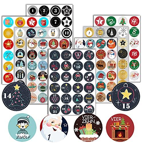 BINXIRUI Adventskalender Zahlen (Zahlen 1-24), 8 X 24 Aufkleber Adventskalender Sticker, Nummern für Papiertüten, Zahlen Aufkleber für Weihnachtskalender Adventskalender Zum Basteln Befüllen, Tüten