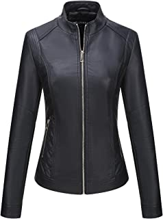 Bellivera Women's Faux Leather Jacket,Moto Casual Short Coat for Spring and Fall