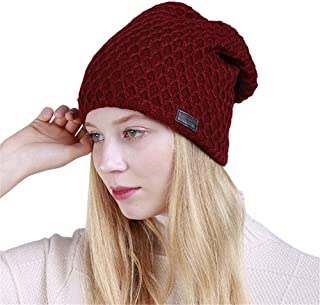 Remeehi Hat Small Diamond Velveted Knitted Headgear For Men And Women In Autumn And Winter Red
