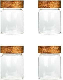 Batchelo Lot de 4 bocaux en verre avec couvercle en bois, réutilisables, empilables, hermétiques, pour graines, sel, poivr...