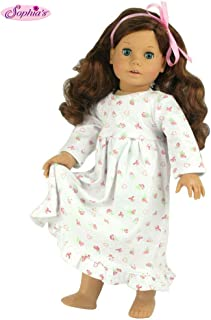 18 Inch Dolls Clothes Nightgown fits American Girl Dolls, Print Knit Nightgown Doll Clothing for 18 Inch Dolls