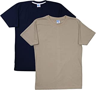 FLEXIMAA Men's Cotton Round Neck T-Shirts - Navy Blue & Biscuit Colors. Sizes : S-38, M-40, L-42, XL-44, XXL-46