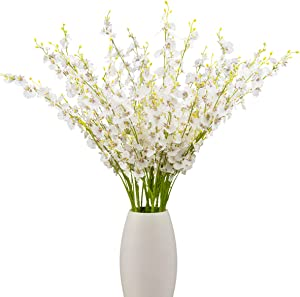 BOMAROLAN Artificial Orchid Silk Fake Flowers Faux Dancing Lady Orchids Stems Flower 10 Pcs Real Touch for Wedding Home Office Party Hotel Yard Decoration Restaurant Patio Festive Furnishing(White)