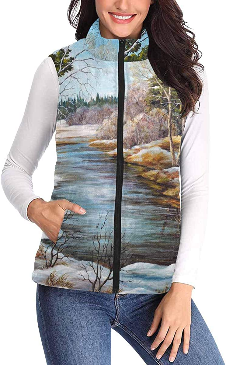 InterestPrint Casual and Fashionable Women Padded Vest with Colorful Prints Piano Icon