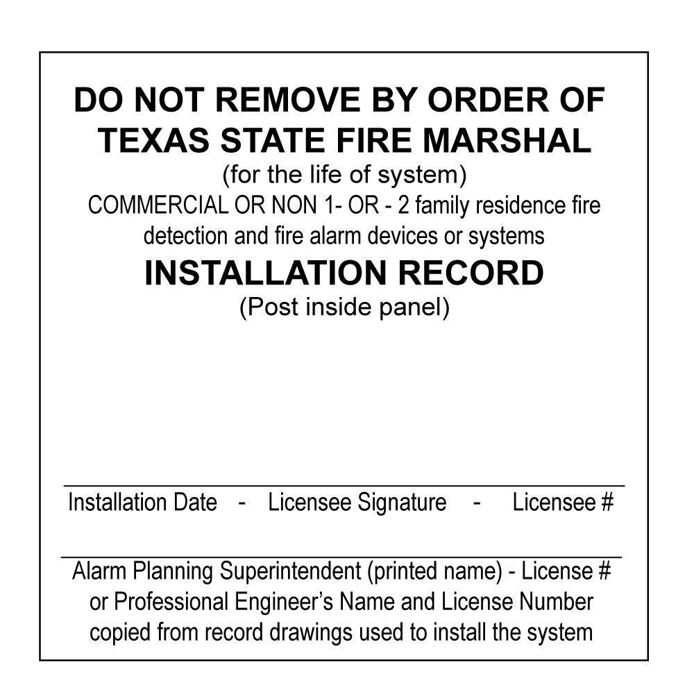 Texas Fire Alarm System Custom Printed Card Labels Maintenance Popularity - Fashion
