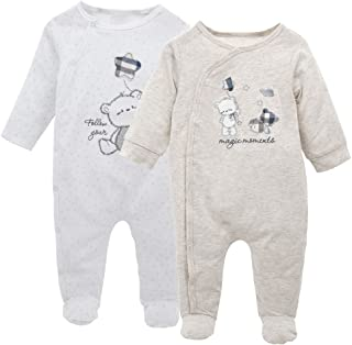 Pacco da 2 Bambino Set di Pagliaccetto a Maniche Lunga Tutina Vestiti Babysuits Pigiama 0-3 Mesi
