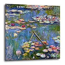3dRose Water Lilies by Claude Monet - Impressionism - Impressionist Waterlilies on Pond - Famous Fine Art - Wall Clock, 15 by 15-Inch (DPP_155655_3)