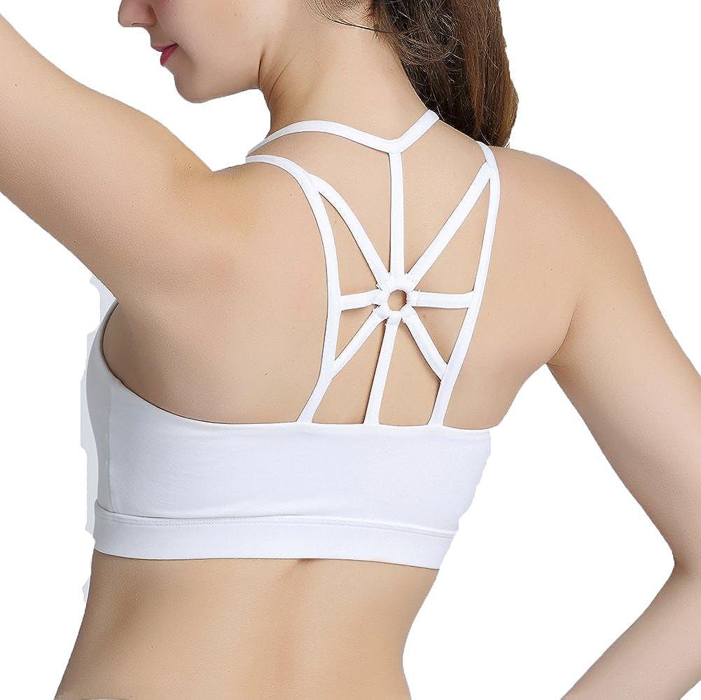 Women Push Up Sports Bra Backless Padded Underwear Low Impact Fitness Vest Strap Yoga Bra Activewear