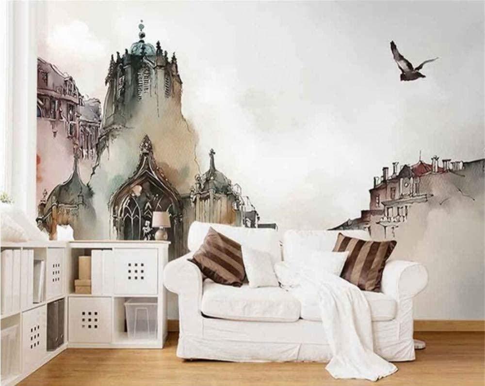 Amazon Bosakp カスタム高品質3 D壁紙壁画北欧都市建築水彩城抽象芸術の背景の壁紙3 D 0x140cm 壁紙